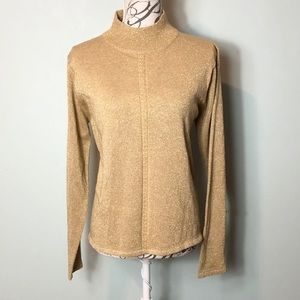 Pendleton mock neck gold top shirt wool blend